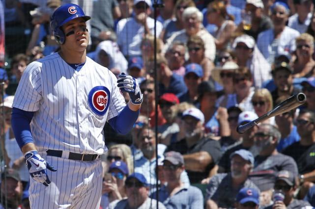 La réaction d'Anthony Rizzo après avoir été retiré... (photo Nam Y. Huh, AP)