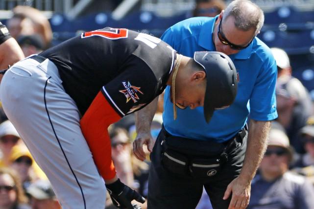 Giancarlo Stanton a été atteint au poignet droit... (Photo Gene J. Puskar, AP)