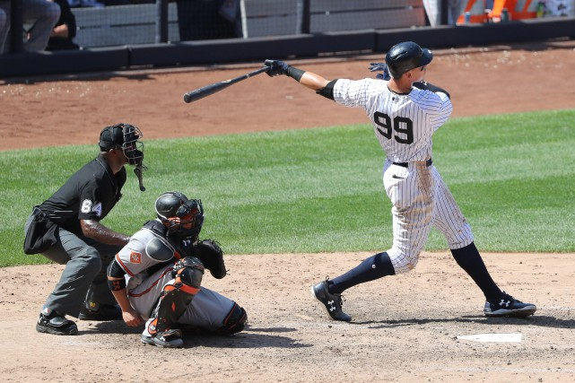 Le circuit d'Aaron Judge (99) en sixième manche... (Photo Anthony Gruppuso, USA TODAY Sports)