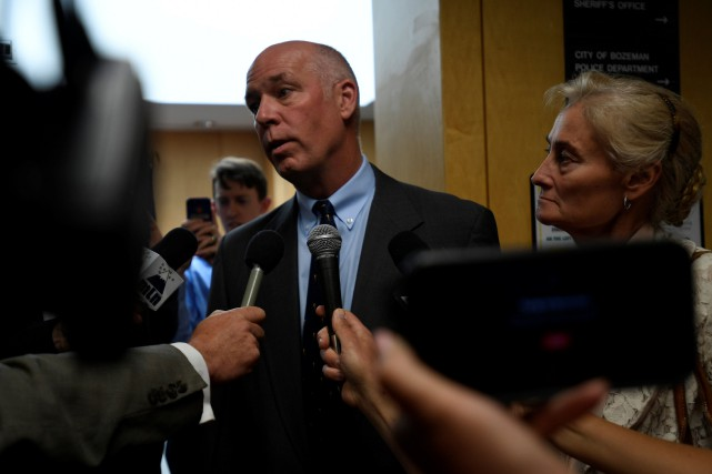 Greg Gianforte répond aux questions des journalistes à... (PHOTO REUTERS)