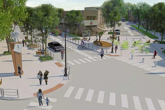 Le projet de 5,2 millions $ pour l'intersection... (Maquette fournie par la Ville de Québec)