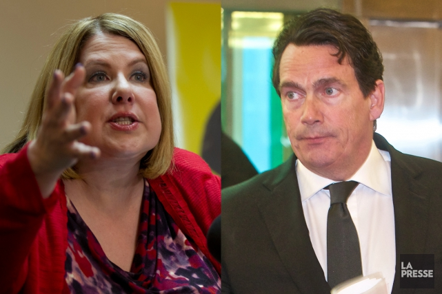 Anne-France Goldwater et Pierre Karl Péladeau... (Photos La Presse)