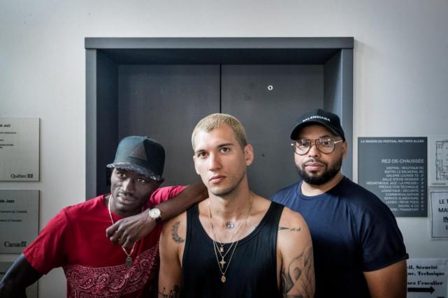 Les rappeurs OTMC (Dubmatique), Rymz et Le Jeanbart... (PHOTO MARCO CAMPANOZZI, LA PRESSE)