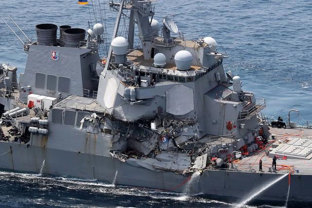 L'accident entre l'USS Fitzgerald(notre photo) de 154mètres de... (PHOTO AFP/JIJI PRESS/STR)