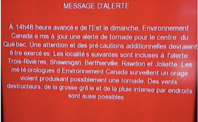 Voici un exemple d'un message d'alerte diffusé par... (Facebook)