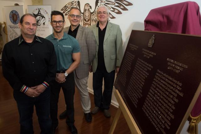 Richard O'Bomsawin, chef d'Odanak, Dave Bernard, de Wôlinak,... (François Gervais, Le Nouvelliste)