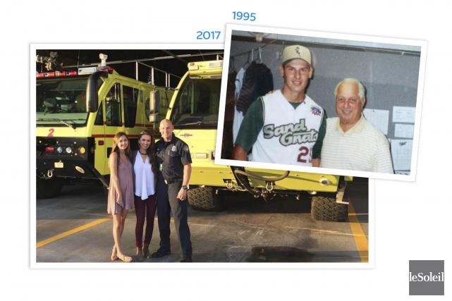 L'ancien lanceur des Capitales, Mike Sanchez, photographié en... (fournies par Mike Sanchez, infographie Le Soleil)