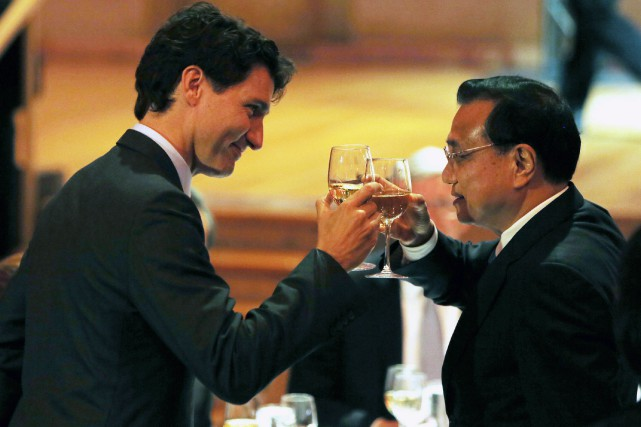 Le premier ministre Justin Trudeau et son homologue... (Photo Fred Chartrand, La Presse canadienne)
