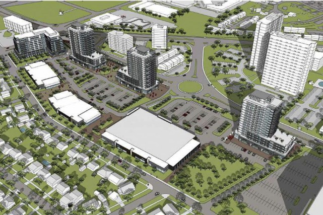 Une maquette montre le projet Elmvale Acres près... (Courtoisie)