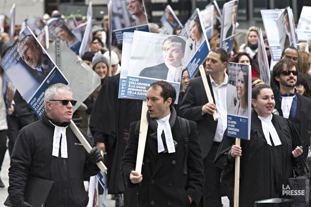 La grève des quelque 1100 avocats et notaires... (PHOTO PATRICK SANFACON, ARCHIVES LA PRESSE)