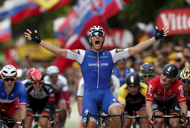 Marcel Kittela gagné la deuxième étapeau sprint.... (Associated Press)