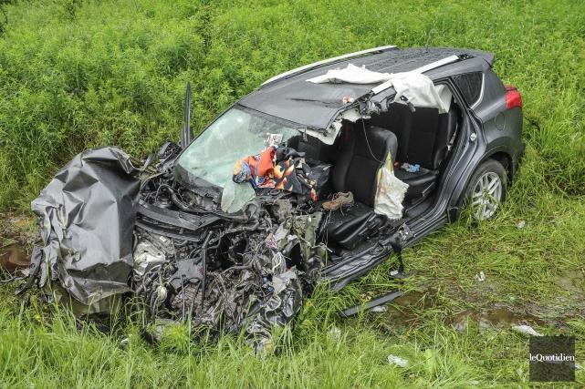 La collision s'est produite vers 16h30 au kilomètre... (Photo Le Quotidien, Gimmy Desbiens)
