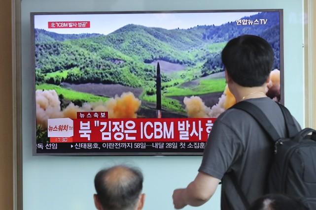 La possession d'un missile balistique intercontinental, capable selon... (PHOTO AP)