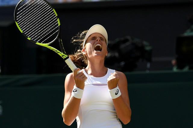 La Britannique Johanna Konta célèbre après sa victoire... (Photo Tony O'Brien, Reuters)