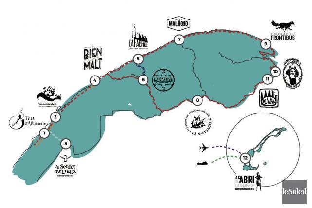La douzaine de brasseurs artisans du Bas-Saint-Laurent, de la Gaspésie et des... (Infographie Le Soleil)