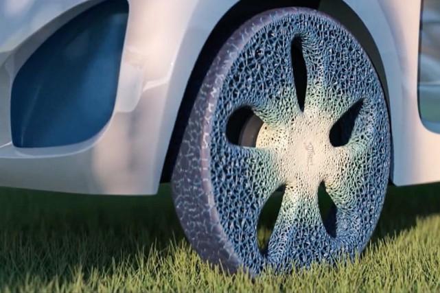 Le pneu Visionary, imaginé par Michelin, a une... (IMAGE FOURNIE PAR MICHELIN)