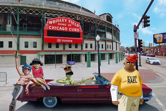 La formation Gorillaz est arrivée à Chicago, où elle donnera samedi le tout...