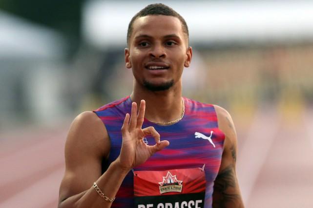 Après avoir remporté le 100 mètres vendredi, Andre... (La Presse canadienne, Fred Chartrand)