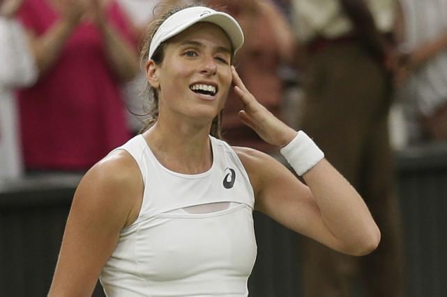 Johanna Konta participera aux demi-finales à Wimbledon pour... (AP)