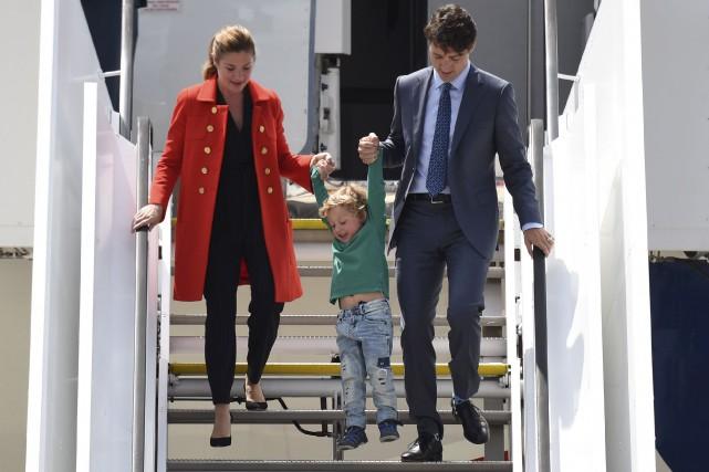 Le premier ministre canadien, Justin Trudeau, sa femme... (Agence France-Presse)