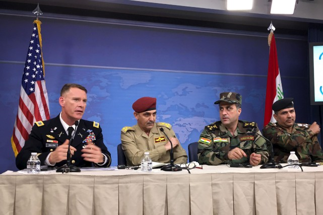 Le ministre de la défense de l'Irak, Yahya... (AFP, Thomas Watkins)