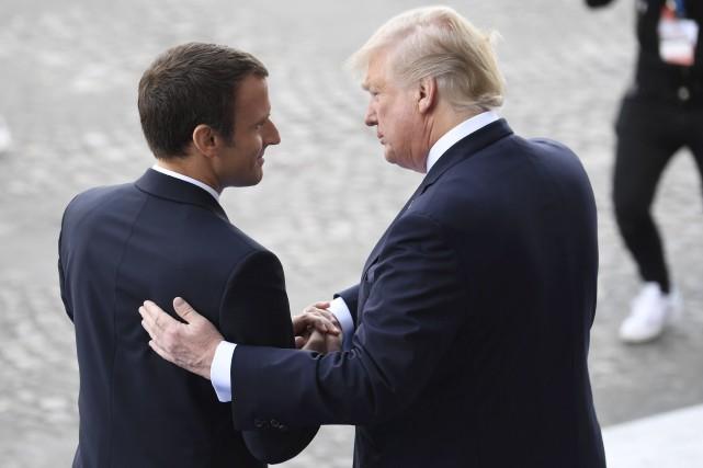 Emmanuel Macron et Donald Trump ont affiché une... (AFP, Alain Jocard)
