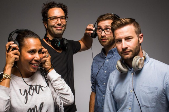 Les animateurs Isabelle Racicot, Maxime Coutié, Mathieu Beaumont... (Photo Olivier PontBriand, La Presse)