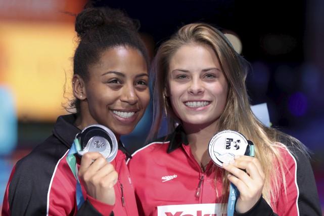 Jennifer Abel et Mélissa Citrini-Beaulieu ont remporté la... (Agence France-Presse)