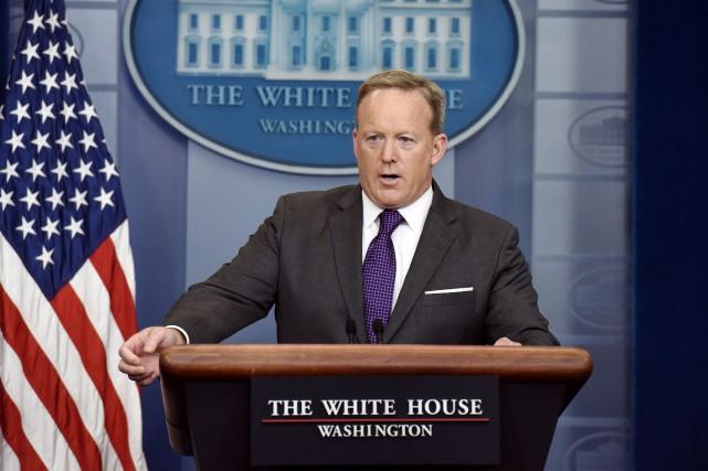 Le porte-parole de la Maison-Blanche, Sean Spicer, a... (PHOTO ARCHIVES AGENCE FRANCE-PRESSE)