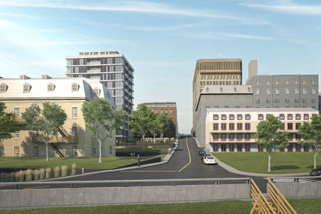 La nouvelle tour de 12 étages vue depuis... (fournie par Geneviève Marcon et Jean Campeau)