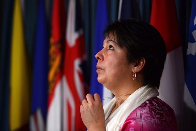 Laurie Odjick tient une conférence de presse au... (PHOTO SEAN KILPATRICK, ARCHIVES LA PRESSE CANADIENNE)