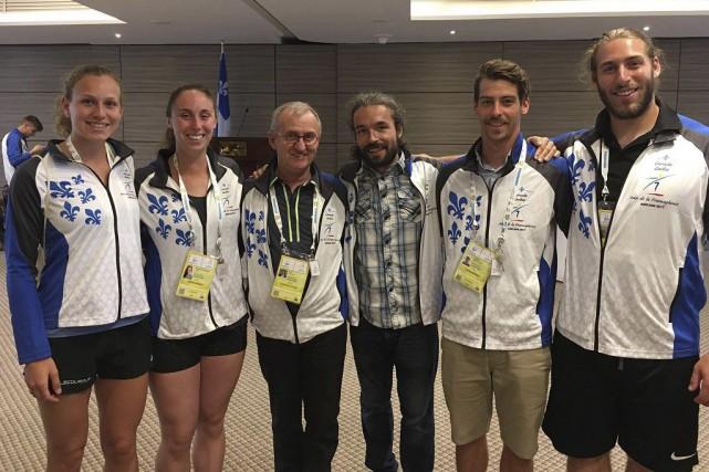 Maïté Bouchard, Alex Porlier-Langlois, le directeur général d'Excellence... (Excellence sportive Sherbrooke)