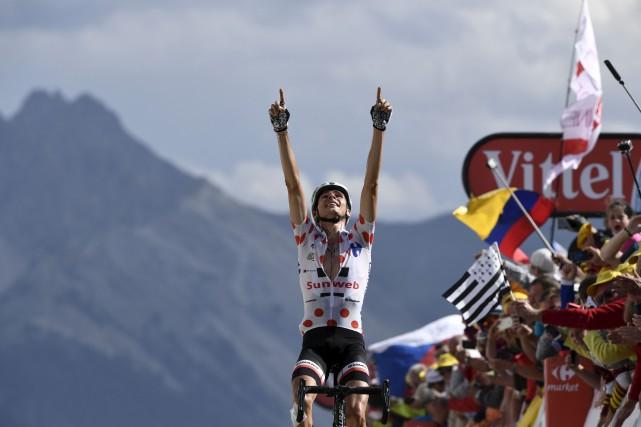 Warren Barguil a signé sa deuxième victoire d'étape... (AFP, Philippe Lopez)