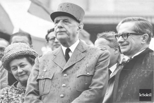 Charles de Gaulle à Donnacona en 1967... (Archives Le Soleil)