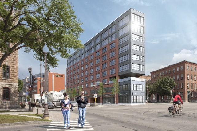 Le bâtiment de 10 étages et de 54condos... (MAQUETTE fournie par GM Développement)