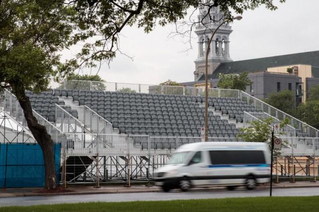 Un accès aux gradins de la Formule E... (Photo Hugo-Sébastien Aubert, La Presse)