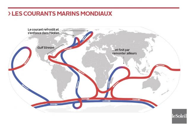 Les océans de la planète sont «connectés» les... (Carte WikiCommons; Infographie Le Soleil)