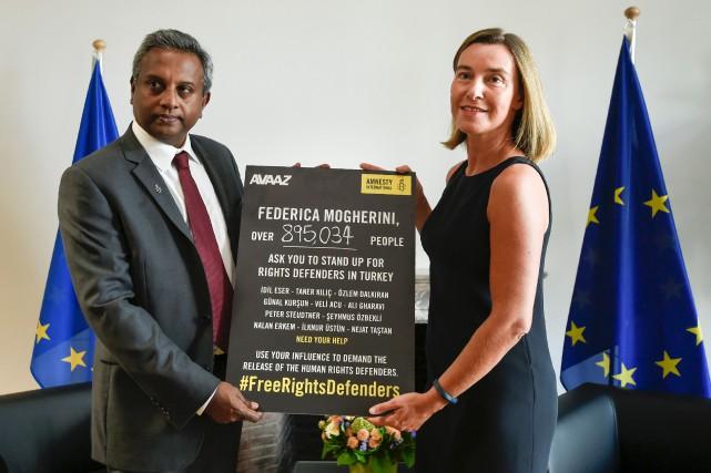Mardi, la haute représentante de l'Union européenne, Federica... (AFP, John Thys)