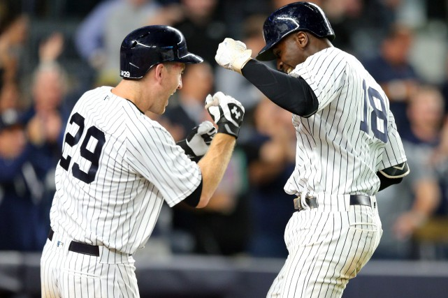 Didi Gregorius (18) et Todd Frazier (29).... (Photo Brad Penner, USA TODAY Sports)