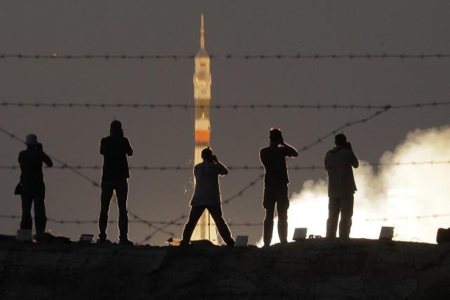 La fusée Soyouz MS-05 s'est envolée avec succès... (Photo Dmitri Lovetsky, AP)