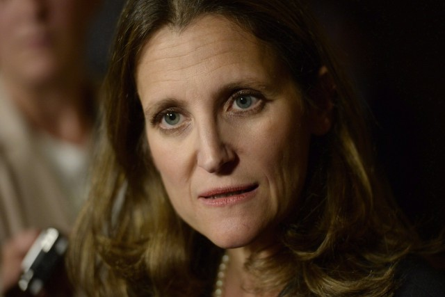 Chrystia Freeland, ministre canadienne des Affaires étrangères.... (Archives, La Presse Canadienne)