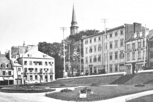 Les jardins de l'hôtel de ville de Québec... (Société historique de Québec, Collection Camille Gosselin)