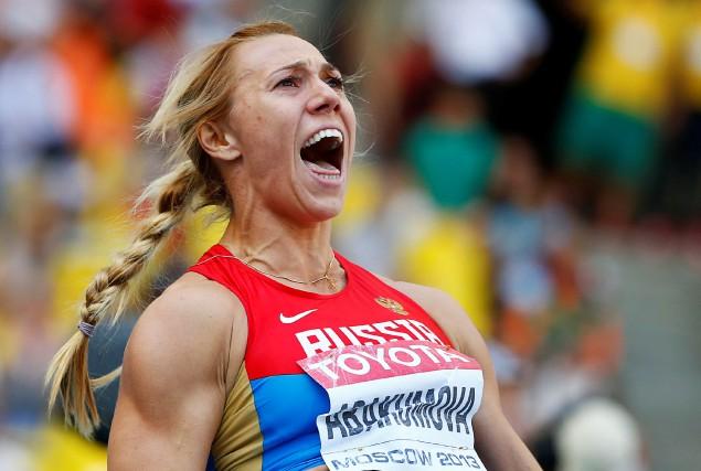 La Russe Maria Abakumova, médaillée d'argent au javelot... (REUTERS)
