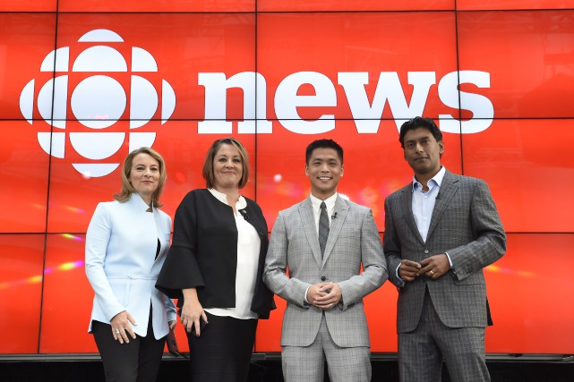 Adrienne Arsenault, Rosemary Barton, Andrew Chang et Ian... (PHOTO Nathan Denette, La Presse canadienne)