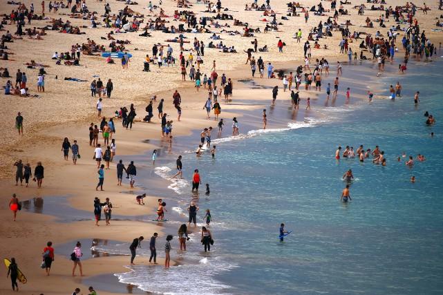 Les baigneurs ont envahi la plage de Bondi... (Photo David Gray, REUTERS)