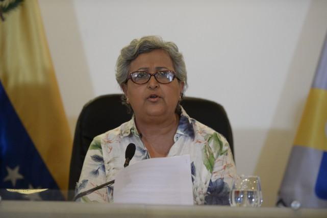 Tibisay Lucena, présidente duConseil national électoral, a nié... (AFP, Federico Parra)