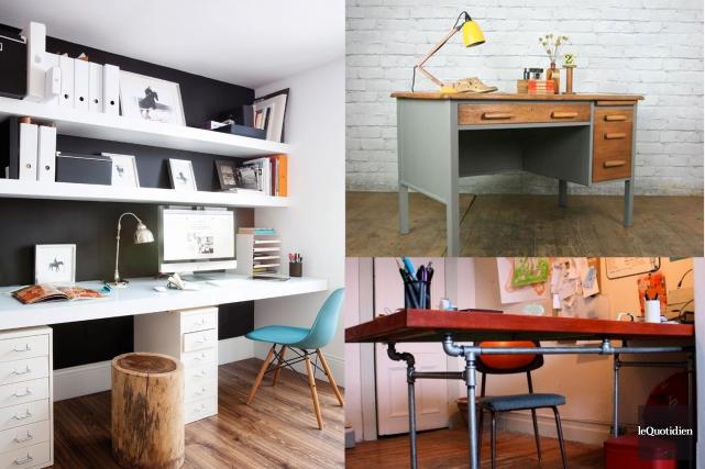 Le bureau de travail fait aujourd'hui partie des meubles indispensables de la... (Photos: Pinterest Photomontage: Le Quotidien)