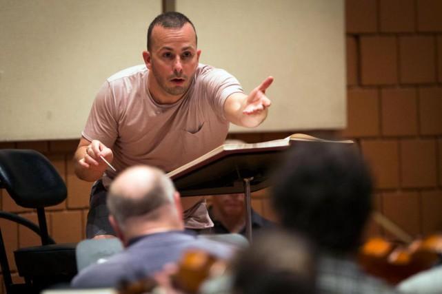 Le chef d'orchestreYannick Nézet-Séguin en répétition avec l'Orchestre... (Photo Olivier Jean, La Presse)