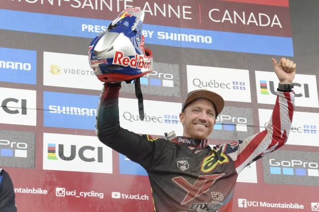 Dernier concurrent à défier la piste du Mont-Sainte-Anne,... (Le Soleil, Jean-Marie Villeneuve)