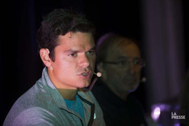 Milos Raonic a participé lundi à une conférence... (PHOTO OLIVIER PONTBRIAND, LA PRESSE)